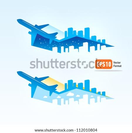airplane flight tickets air fly cloud sky blue travel blank city vector - stock vector
