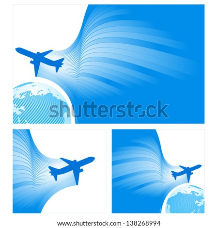 airplane flight tickets air fly cloud sky blue white color travel transportation globe background - stock vector
