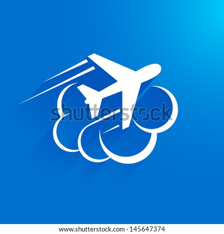 airplane flight tickets air fly travel takeoff cloud blue element - stock vector