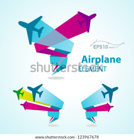 airplane flight tickets air fly travel takeoff colorful element - stock vector