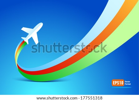 airplane flight tickets air fly travel takeoff silhouette - stock vector