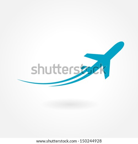 airplane flight tickets air fly travel takeoff silhouette element - stock vector