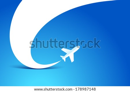 airplane flight tickets air fly travel takeoff silhouette element blue background  - stock vector