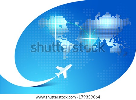 airplane flight tickets air fly travel takeoff silhouette element blue background map - stock vector