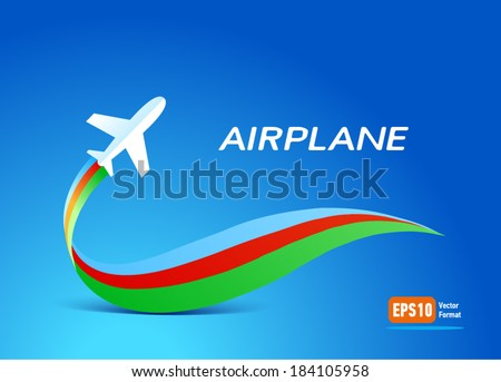 airplane flight tickets air fly travel takeoff silhouette - ribbon colored  blue background - stock vector
