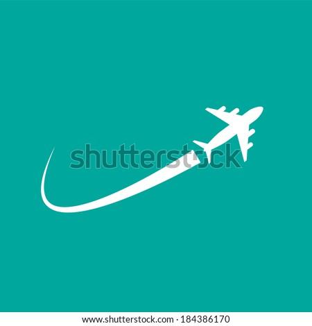 airplane flight vector - stock vector