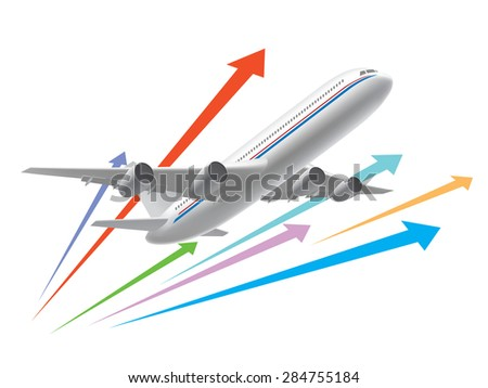 Airplane flying - stock vector