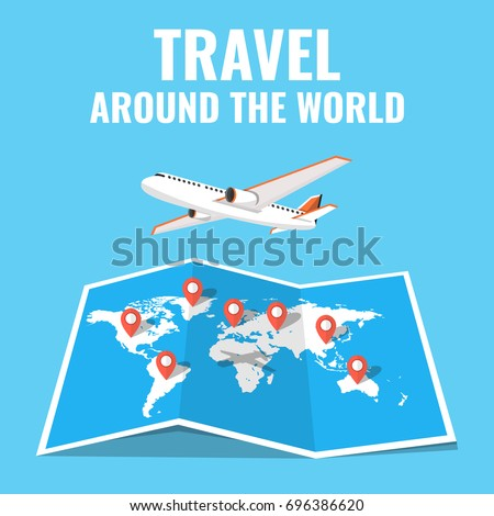 Airplane flying above world map around stock vector 696386620 airplane flying above the world map around the world travelling concept flat cartoon style gumiabroncs Image collections