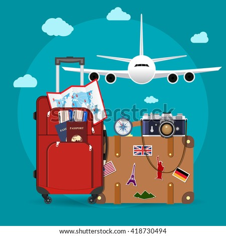 Airplane flying above tourists luggage, map, passport, tickets and photo camera. Tourism and vacation theme. vector illustration in flat design. travel and vacations concept - stock vector