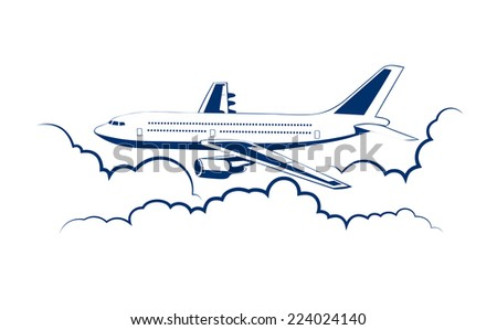 airplane flying among clouds - stock vector