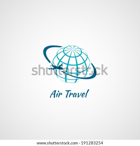 Airplane flying around the globe air travel symbol icon vector illustration - stock vector