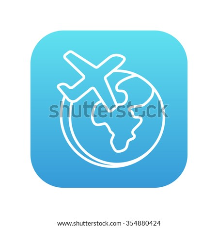 Airplane flying around the world line icon for web, mobile and infographics. Vector white icon on the blue gradient square with rounded corners isolated on white background. - stock vector