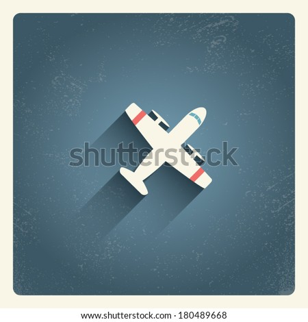 Airplane flying concept illustration in vintage frame suitable for postcards, promotion, etc. Eps10 vector illustration. - stock vector