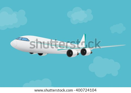 Airplane flying in the blue sky background. Airplane in sky concept. - stock vector
