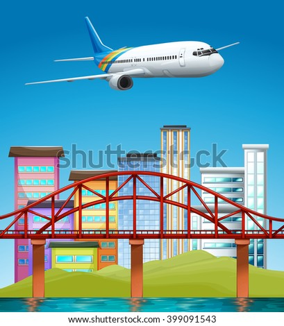 Airplane flying over buildings illustration