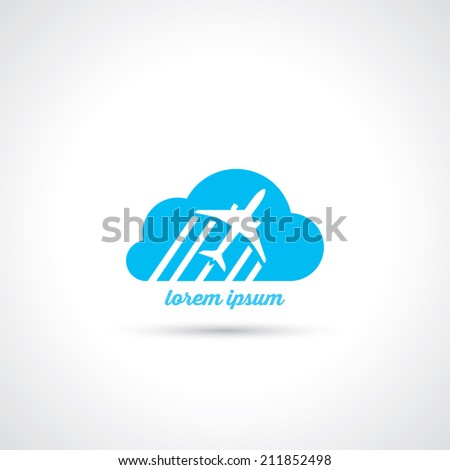 Airplane flying over clouds symbol - vector illustration - stock vector