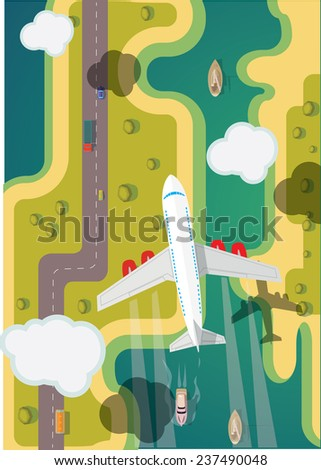 Airplane flying over ground. Vector illustration. - stock vector