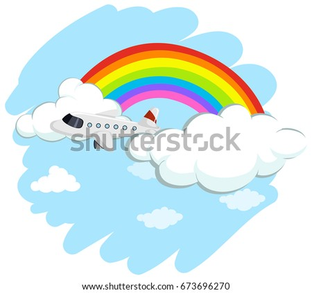 Airplane flying over the rainbow illustration