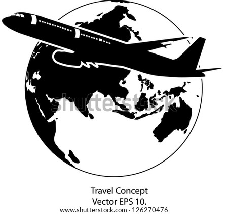 Airplane For Travel Around The World Vector Illustration Icon EPS 10