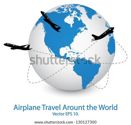 Airplane for Travel Around the World Vector Illustration Icon, EPS 10. - stock vector
