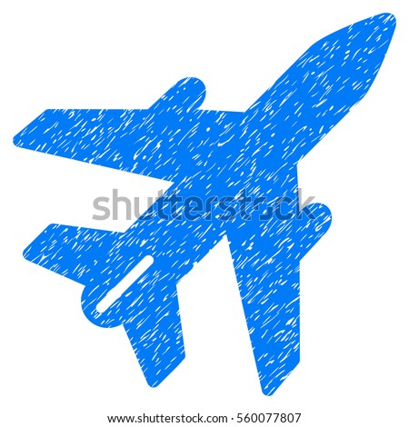 Airplane grainy textured icon for overlay watermark stamps. Flat symbol with dirty texture. Dotted vector blue ink rubber seal stamp with grunge design on a white background.