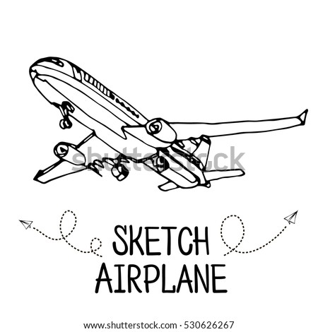 airplane hand draw sketch