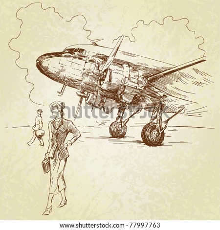airplane-hand drawn illustration - stock vector