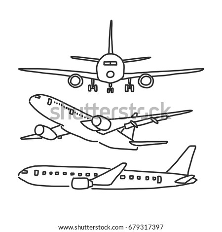 airplane hand drawn line drawing vector illustration cartoon