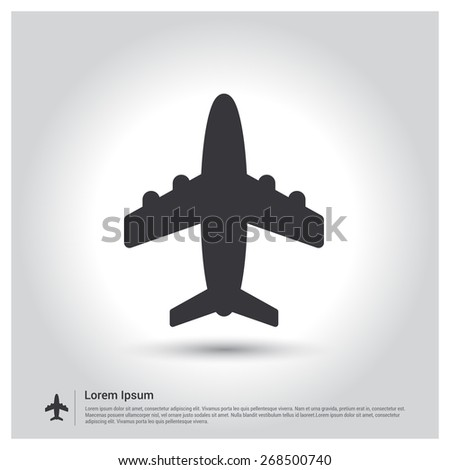 Airplane icon. Aircraft symbol icon on gray background - stock vector