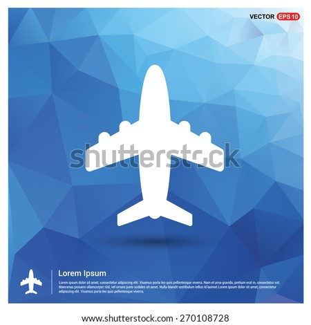 Airplane icon. Aircraft symbol icon on gray background. Blue geometric pattern, triangles background, polygonal design. Polygon geometric. Vector illustration - stock vector