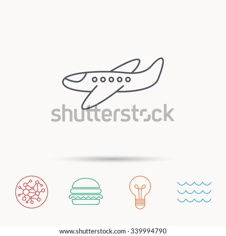 Airplane icon. Aircraft travel sign. Flight transport symbol. Global connect network, ocean wave and burger icons. Lightbulb lamp symbol. - stock vector