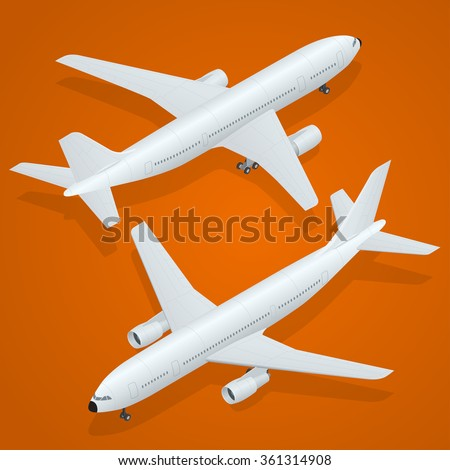 Airplane icon. Airplane freight. Flat 3d isometric high quality transport - passenger plane. Vehicles designed to carry large numbers of passengers.  - stock vector