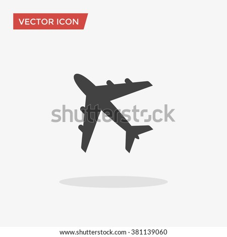 Airplane Icon in trendy flat style isolated on grey background. Plane symbol for your web site design, logo, app, UI. Vector illustration, EPS10. - stock vector