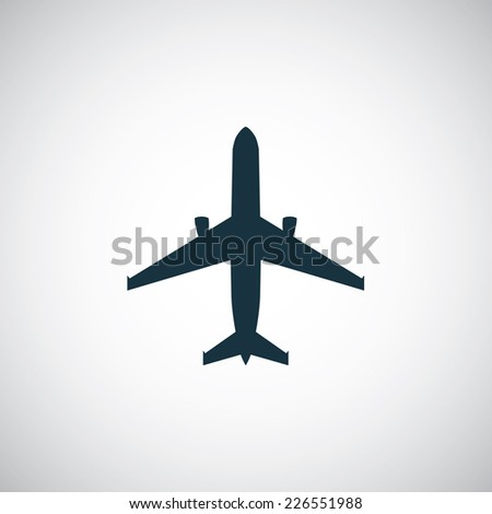 airplane icon on white background  - stock vector