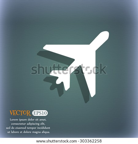 airplane icon symbol on the blue-green abstract background with shadow and space for your text. Vector illustration - stock vector