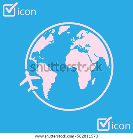 Airplane icon travel trip round world stock photo photo vector trip round the world flat design style gumiabroncs Gallery