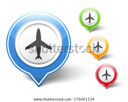 Airplane icon, vector eps10 illustration - stock vector