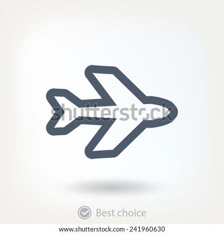 Airplane  icon,  vector illustration. Flat design style - stock vector