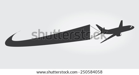 Airplane icon with a banner  - stock vector