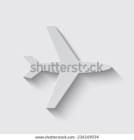 Airplane Icon with shadow on a grey background - stock vector