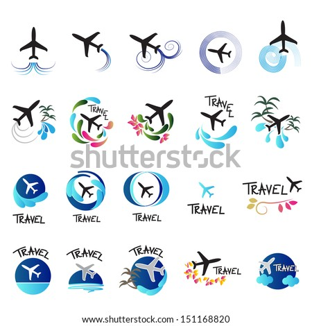 Airplane Icons Set - Isolated On White Background - Vector Illustration, Graphic Design Editable For Your Design. Airplane Logo - stock vector