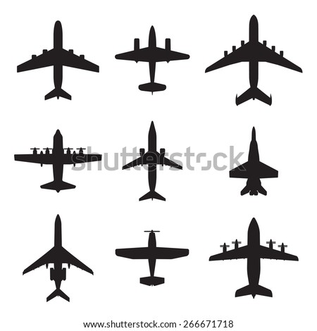 Airplane icons set isolated on white background. Vector silhouettes of passenger aircraft, fighter plane and screw. - stock vector