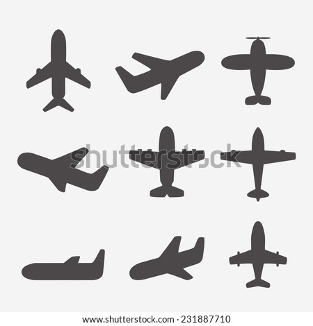 Airplane icons vector - stock vector