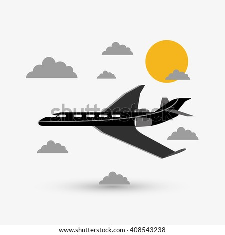 Airplane illustration design, editable vector