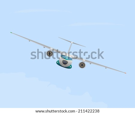 Airplane in flight. Vector illustration. EPS10. Opacity.