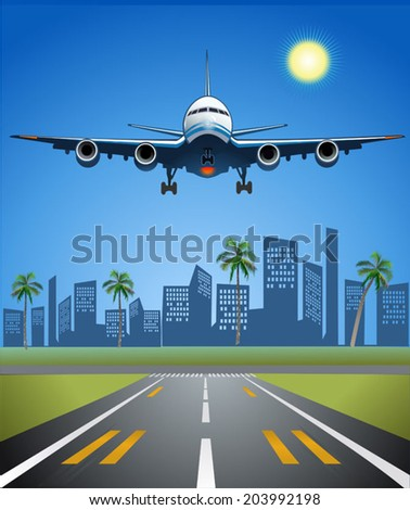 Airplane in Summer - stock vector