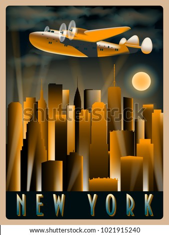 Airplane Sky Over New York Night Stock Vector HD (Royalty Free ...