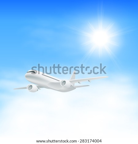 Airplane in the sky with sun. EPS10 vector. - stock vector