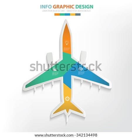 Airplane info graphic design. Clean vector - stock vector