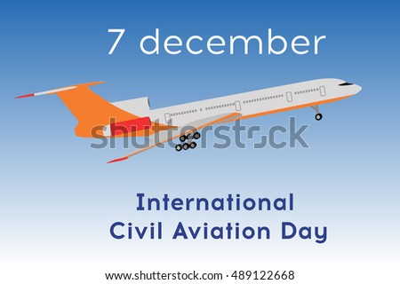 Airplane. International civil aviation day. Flat design vector illustration. Passenger airplane in flight.